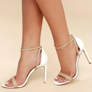 Sexy snake white and nude ankle strap heels
